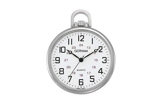 Gotham - Silver-Tone Ultra Thin Railroad Open Face Quartz Pocket Watch
