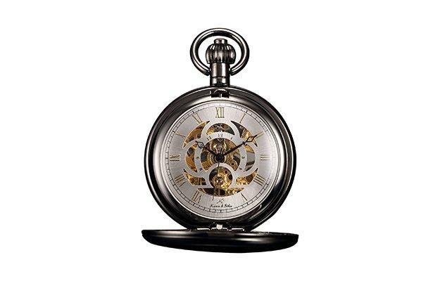 KS - Hunter Skeleton Mechanical Pocket Watch